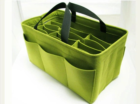 W6. Yellow-green felt bag organizer  - X X large size for travel ((W 14in H 8in D 7.5in ), also for a school / baby bag, desk, car & etc. - samorga