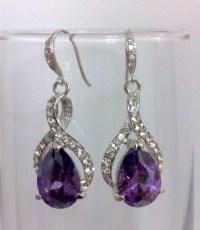 Purple Violet Bridal Earrings Cubic Zirconia Earrings by ...