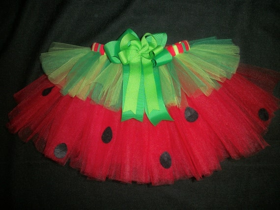 Watermelon picnic tutu, 4th of July tutu or Summer Birthday tutu custom made up to a size 4t - CatyRoseBows