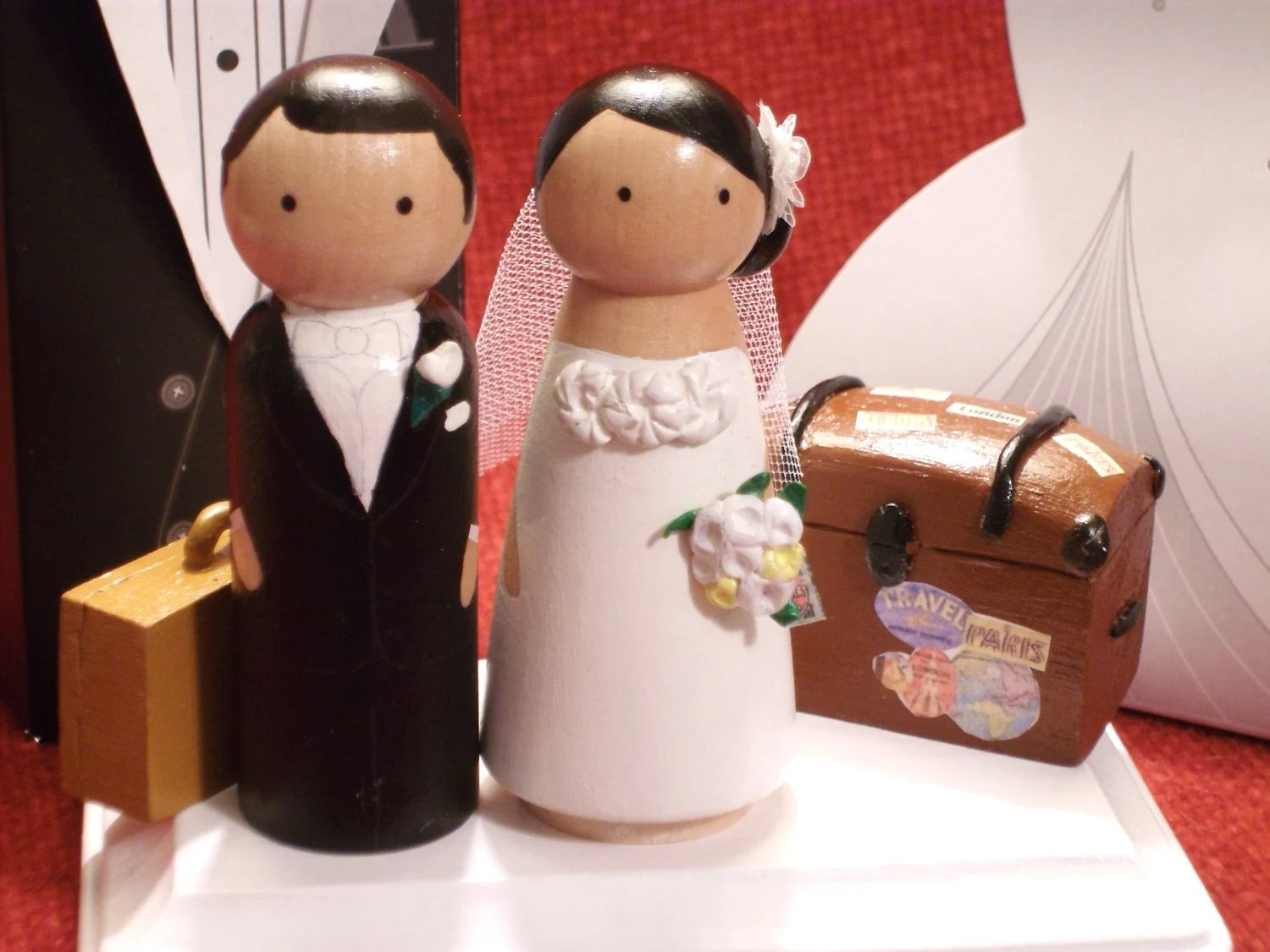 Custom Cake Topper - Personalized Wood Doll Topper -Vintage Travel Theme---3-D Accents