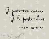 French: I carry your heart. I carry it in my heart. 8x10 print (Fleur de lis Motif, Diamond shown) - SayItSweet