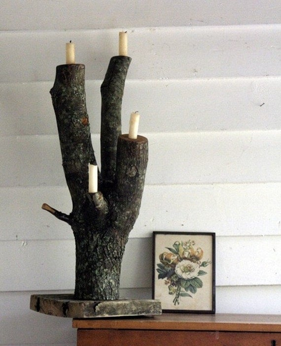 The Candle-log-ra - Natural Tree Trunk Candelabra - MADE TO ORDER - Rustic Home Decor, Bring the Outside In