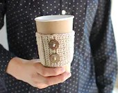 Coffee cup cozy, Natural beige nude color with natural buttons by The Cozy Project - thecozyproject