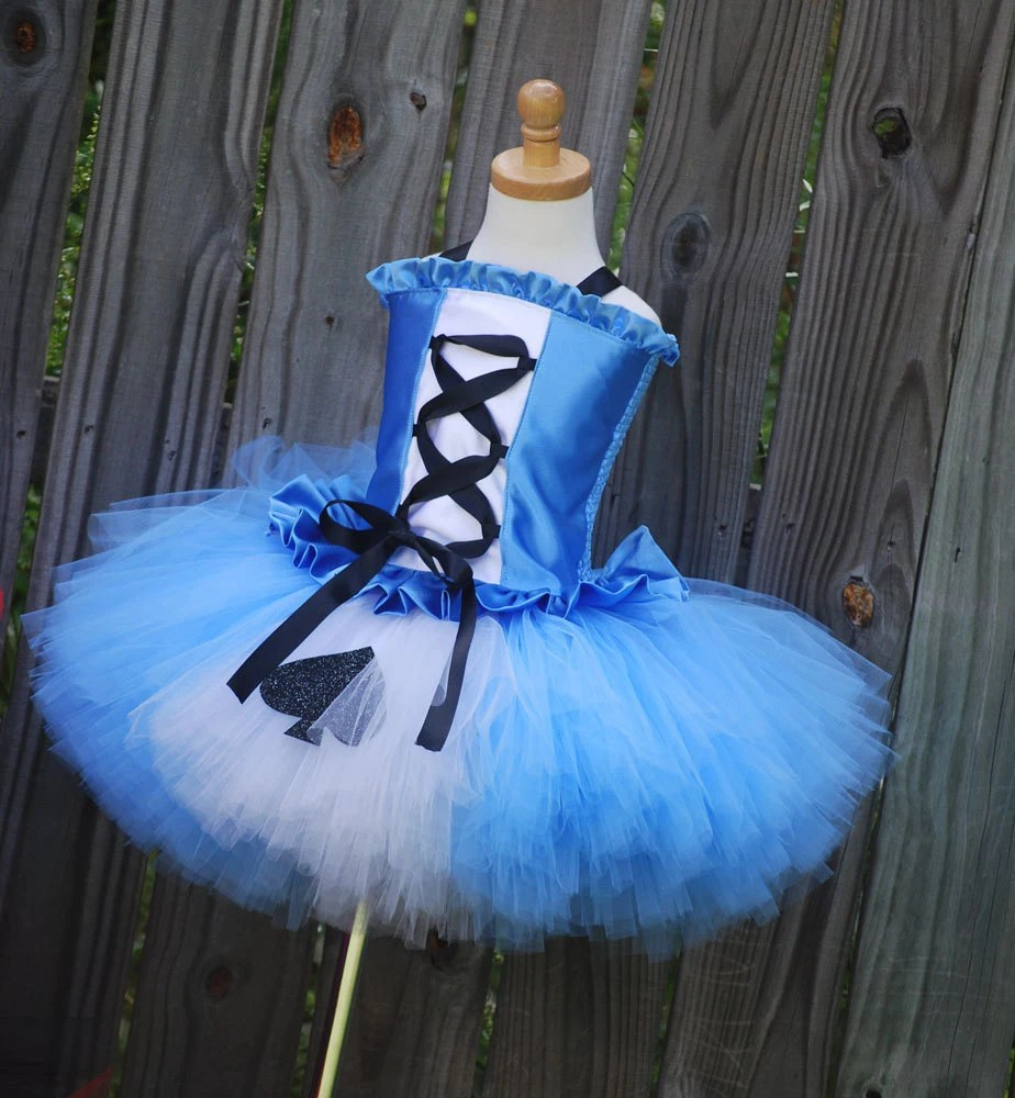 Custom Alice in Wonderland tutu dress corset set made to fit your daughter in a size 12 months through 5T.  Larger sizes available