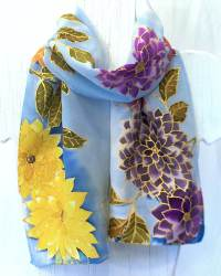 Floral Joy Silk Square Scarf Reflecting A Watercolor