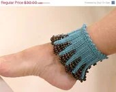 On Sale Hand Knit Teal, Blue, Turquoise Spats with Brown Wooden Beaded - ArzuMusaKnitting