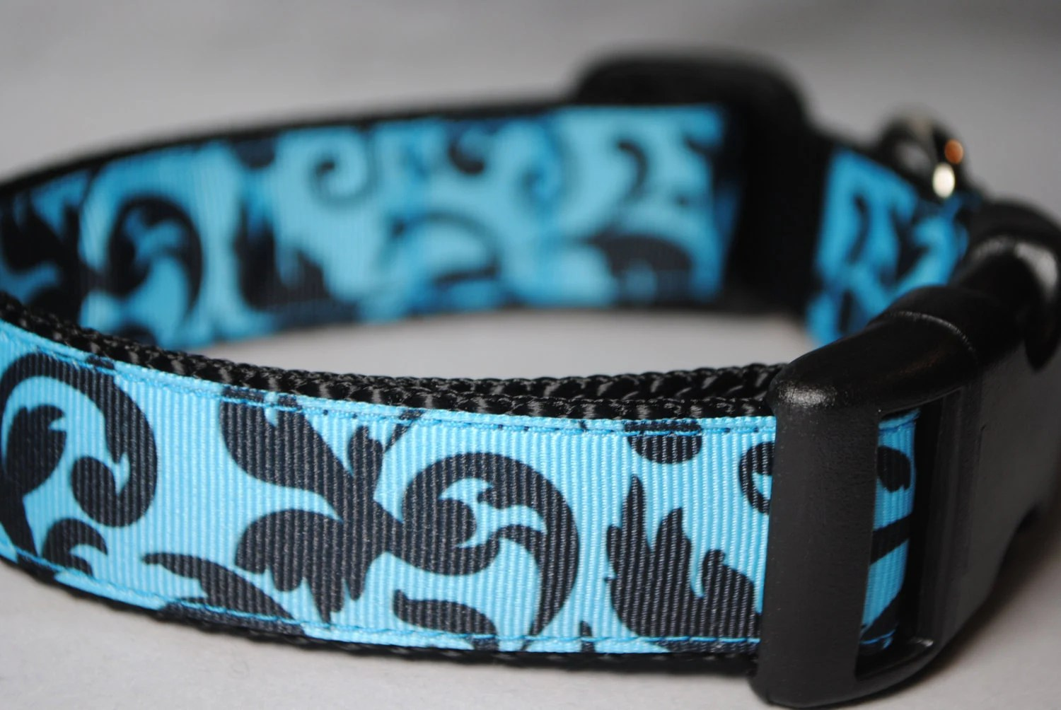 """Damask Print Black and Blue 1"""" Width Adjustable Collar - Also available as a Martingale - swankypaws"""