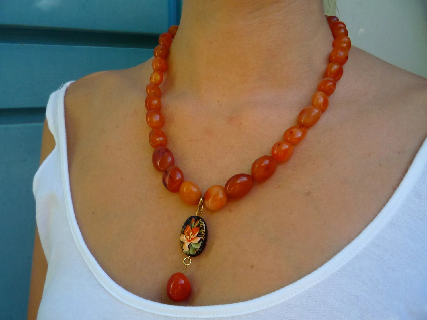 Carnelian semiprecious stones  necklace   with handpainted hibiscus  Agate  pendant .
