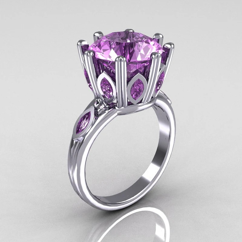 Classic 14K White Gold Marquise and 5.0 CT Round Lilac Amethyst Solitaire Ring R160-14KWGLA