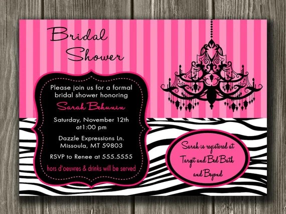 Zebra Bridal Shower Invitation