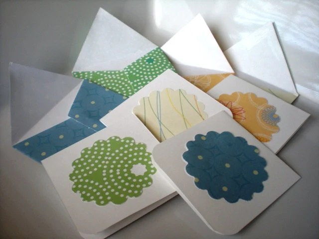 Mini Note Card-Set of 8 Fun Patterns with Envelopes
