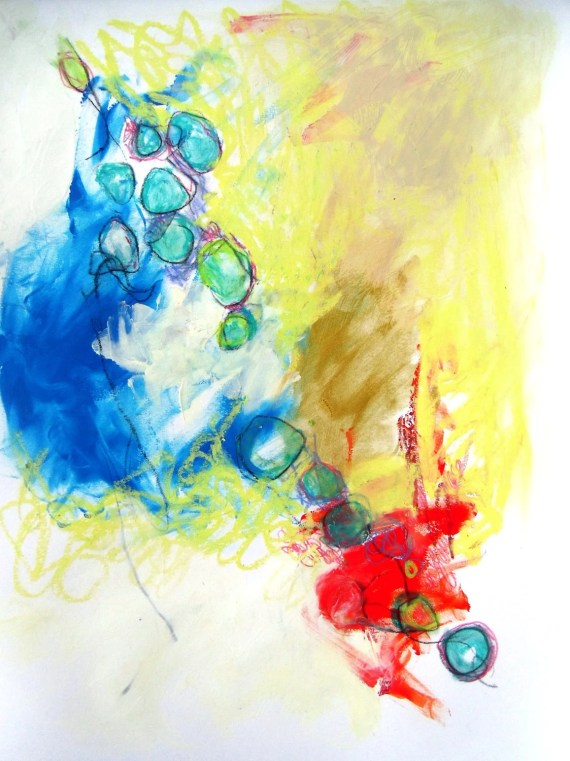 "Modern Painting Original on Paper Abstract Expressionist ""Ambient Music in the Morning"" - kerriblackmanfineart"