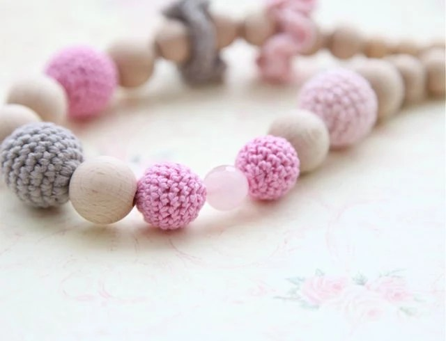 Pink and grey  teething crochet necklace. Nursing necklace for Mother and child, ready to ship - nihamaj