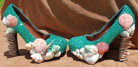 Turqouise Glitter and Seashell Mermaid Pump - glitterousss
