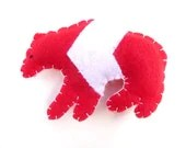 Red and white bear with chevron magnet, number 34 - WillowandQuail