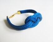 Blue navy rope bracelet- nautical cord sailor's knot bracelet with golden end caps - selenedream