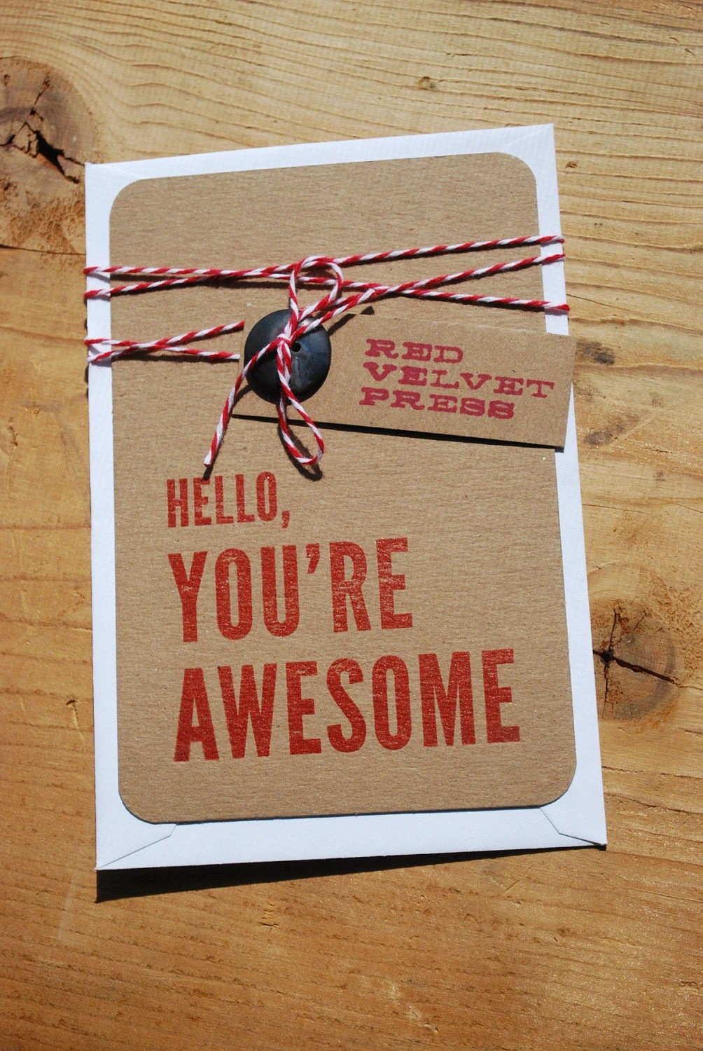 Hello, You're Awesome Letterpress 4x6 Stationery - RedVelvetPress