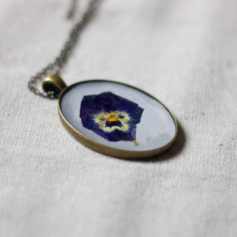 pressed flower necklace natural botanical jewelry handmade resin necklace dark purple pansy cottage garden shabby chic pendant - StudioBotanica