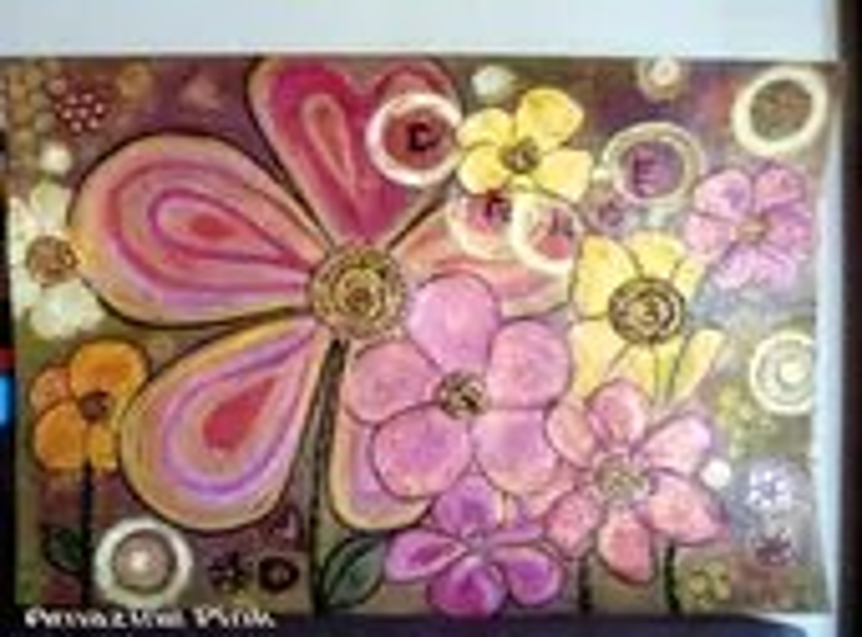 "Dance of Flowers, Original Mixed Media Painting on 16,5"" x 11,4""  Artistic Paper (300 g/m2) Medium Texture - AmazingPink"