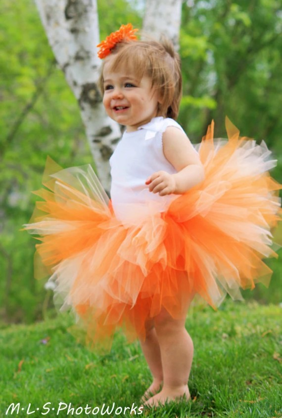 Peaches and Cream TuTu - Size 12 Months 2T 3T 4T 5T 6 7 8...Birthday, Photo Prop, Dress Up, Costume, Gift - Super Cute Orange Creamsicle - OnceUponATimeTuTus