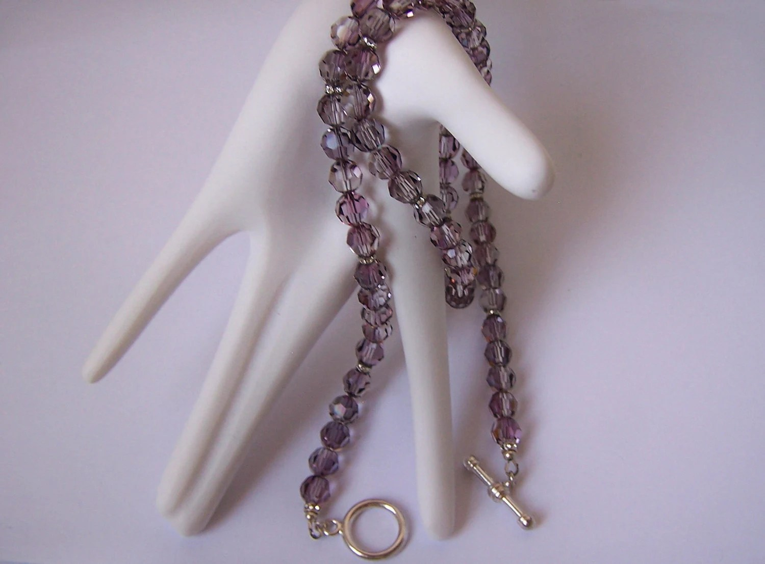 Swarovski Antique Pink 8mm Faceted Round Crystal Bead Matinee Length Necklace with Silver Toggle Clasp