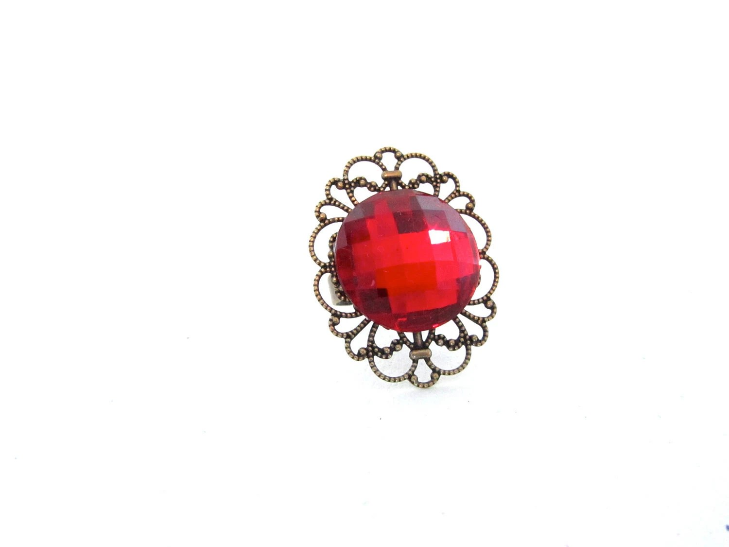 Red Cocktail Ring, Vintage Inspired, Valentines Gift For Her - mintlilly