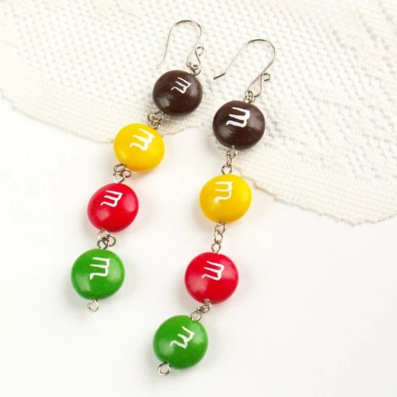 M&M Candy Charm Earrings fake food jewelry - color jewelry - unique gift for her - Nechegonadet