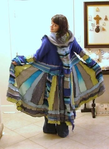 Gypsy Faerie Elven Patchwork Coat of Up-Cycled Sweaters MADE TO ORDER