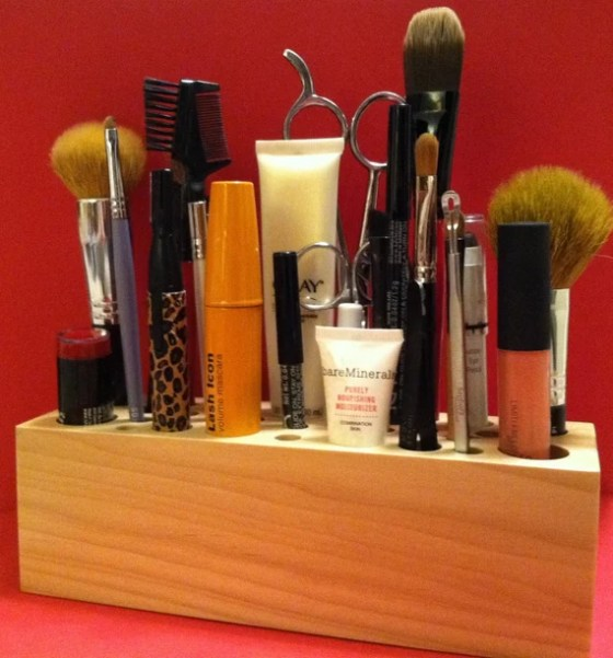 Handmade Wooden Makeup Brush Holder