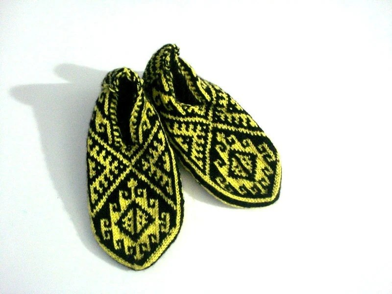 Black & Yellow Traditional Handmade Knit Turkish Socks Slippers for Men and Women, crochet slippers, knitted home shoes, knit socks booties - AnatoliaDreams