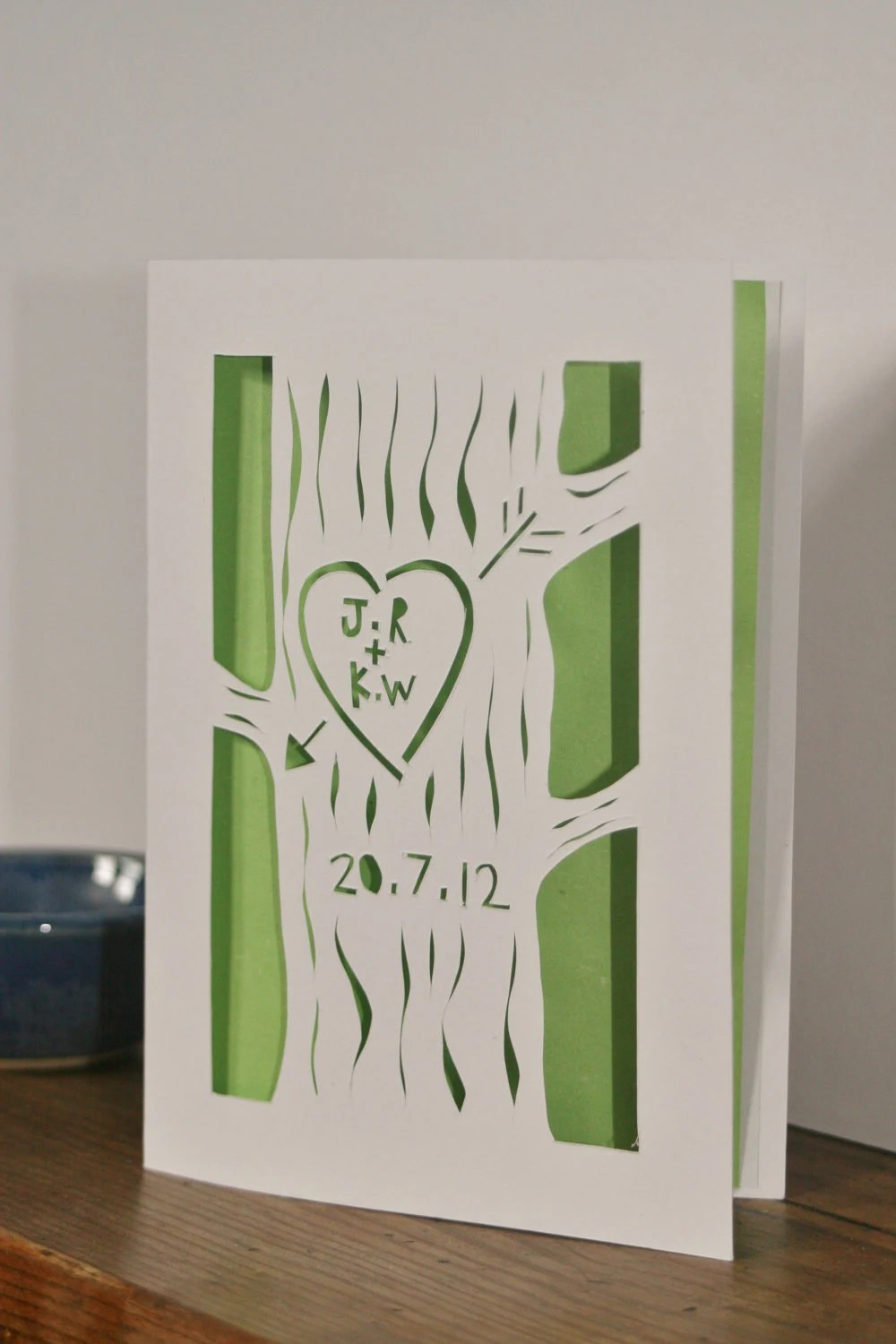Deep in a wood carved on a tree - wedding congratulations card - CraftyLou2