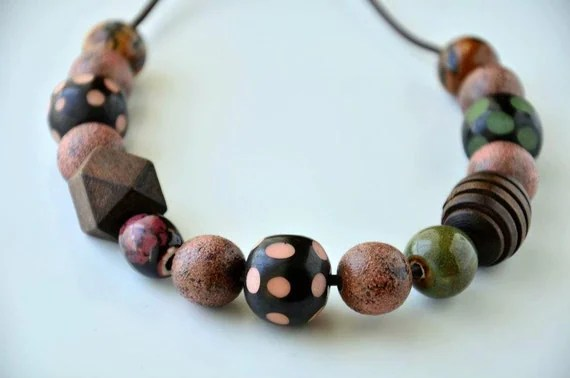 Handmade  Overwear Painting Polymer Clay Beads with Wood , Bone and Porcelain Beads in pastel pink, green