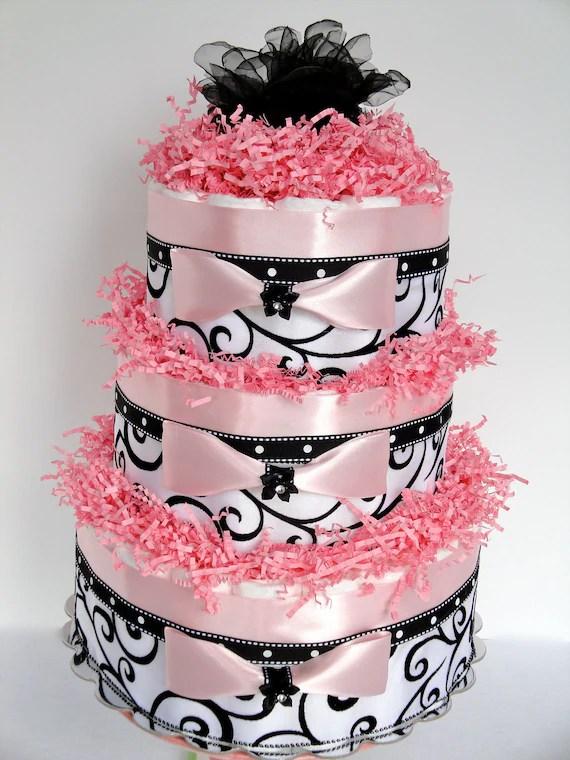 Diaper Cake - Black, Pink & White Damask Elegance Baby Shower Diaper Cake Centerpiece  - 3 Tier