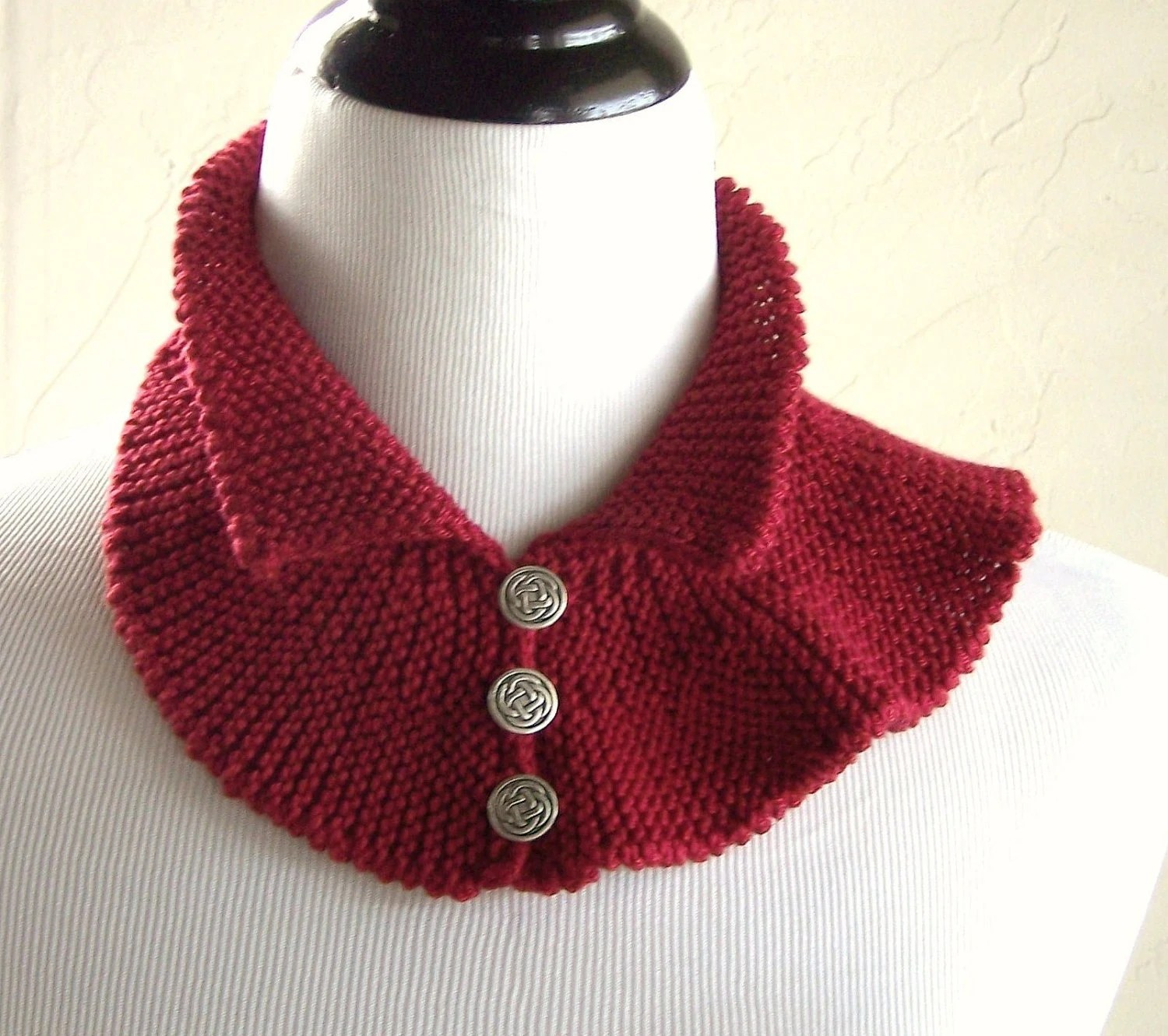 Two-Faced Collar in Ruby Red by Melanie Rice - pima cotton knit - mrchicknits
