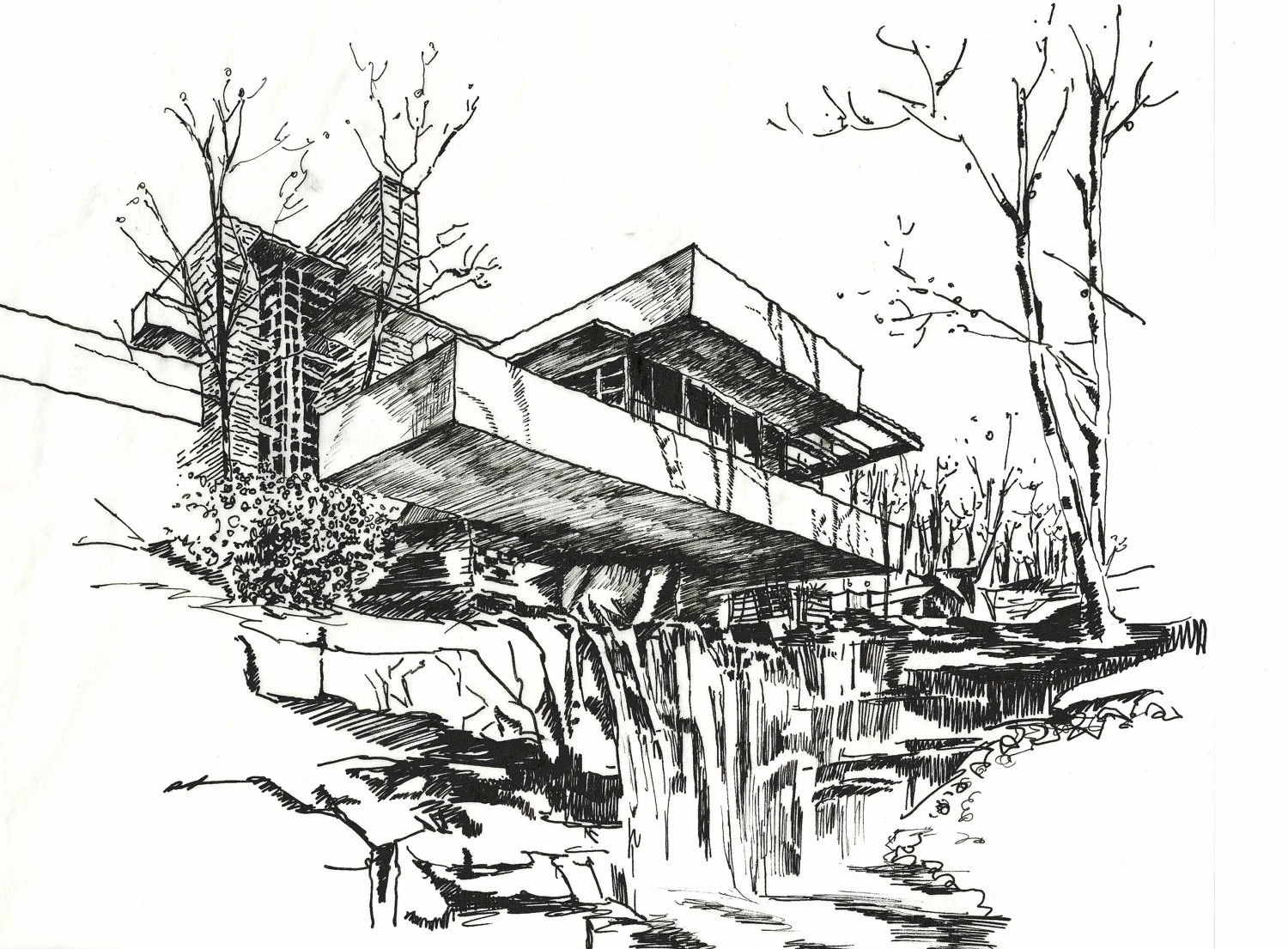 Falling Water Drawings Sketch Coloring Page