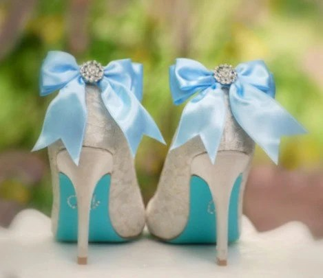 Sparkly Blue / White Bow Shoe Clips. Shiny Rhinestones. Fashionista Night Out Couture, More Satin Ribbon Sage Pink Red Black Ivory Teal Navy