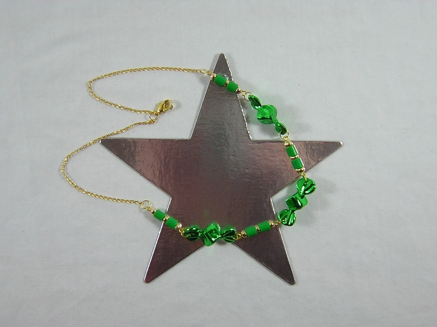 Gold and Green Candy Necklace - Handmade by Rewondered D225N-00197