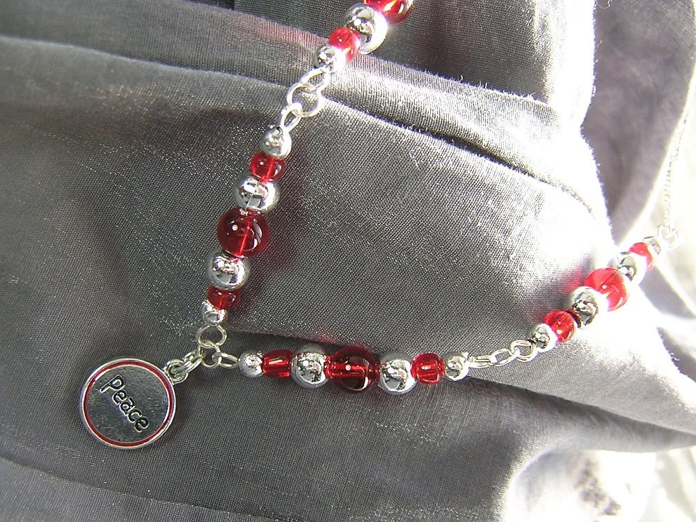 One of a Kind Red and Silver Peace Necklace - Handmade by Rewondered D225N-99275