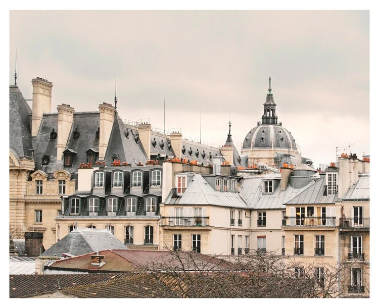 Paris Photography art - Grey Rooftops photo - architecture Paris Art Print - french living room decor - beige large wall art - RivuletPhotography