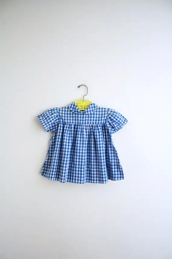 Vintage Baby Dress . Blue Gingham Summer Dress . 12-18 months