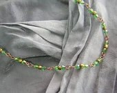 Iridescent Green and Antique Gold Basically Beaded Necklace - Handmade by Rewondered D225N-00242