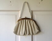 Vintage Whiting and Davis Purse / 1940s Cream Mesh Handbag - DalenaVintage