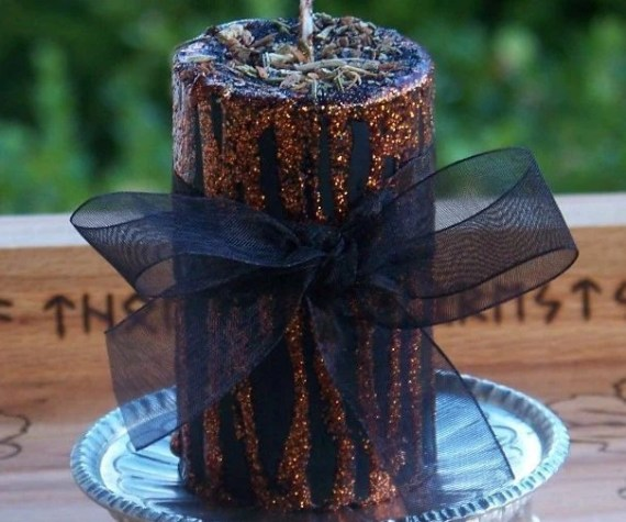 HAUNTED Wicked Witches Sparkly Orange & Black Sabbat Magick Soy Pillar Candle w/ Dragon's Blood, Samhain Herbs, Harvest Spices - ArtisanWitchcrafts