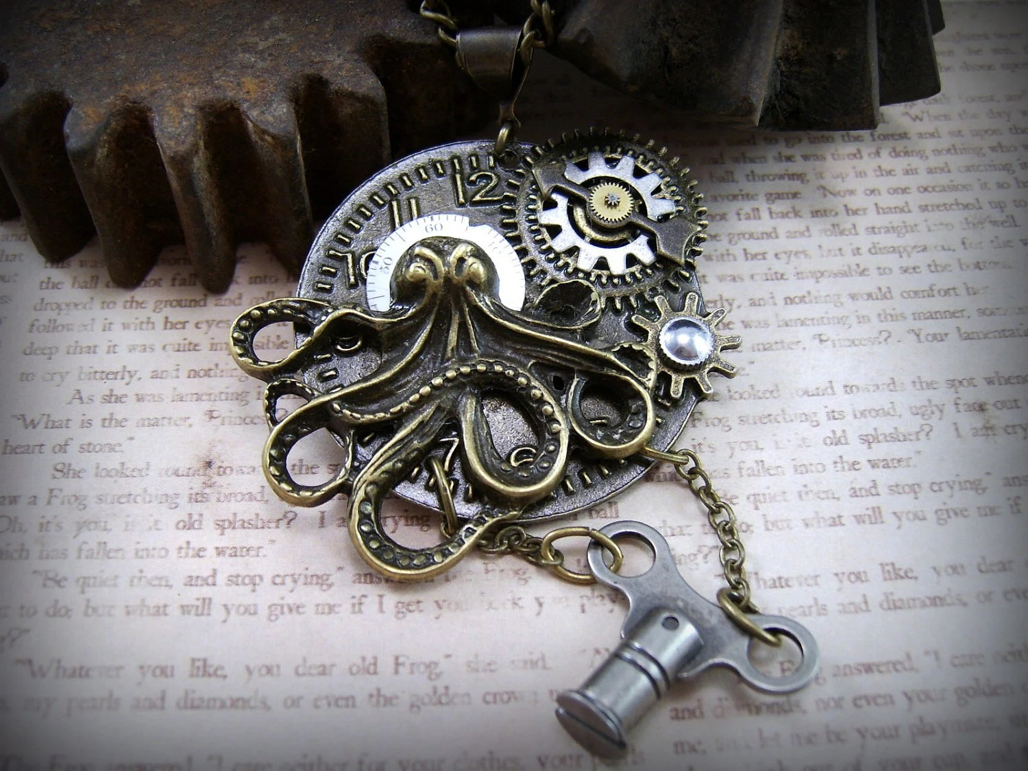 Steam Punk Octupus Necklace, Industrial