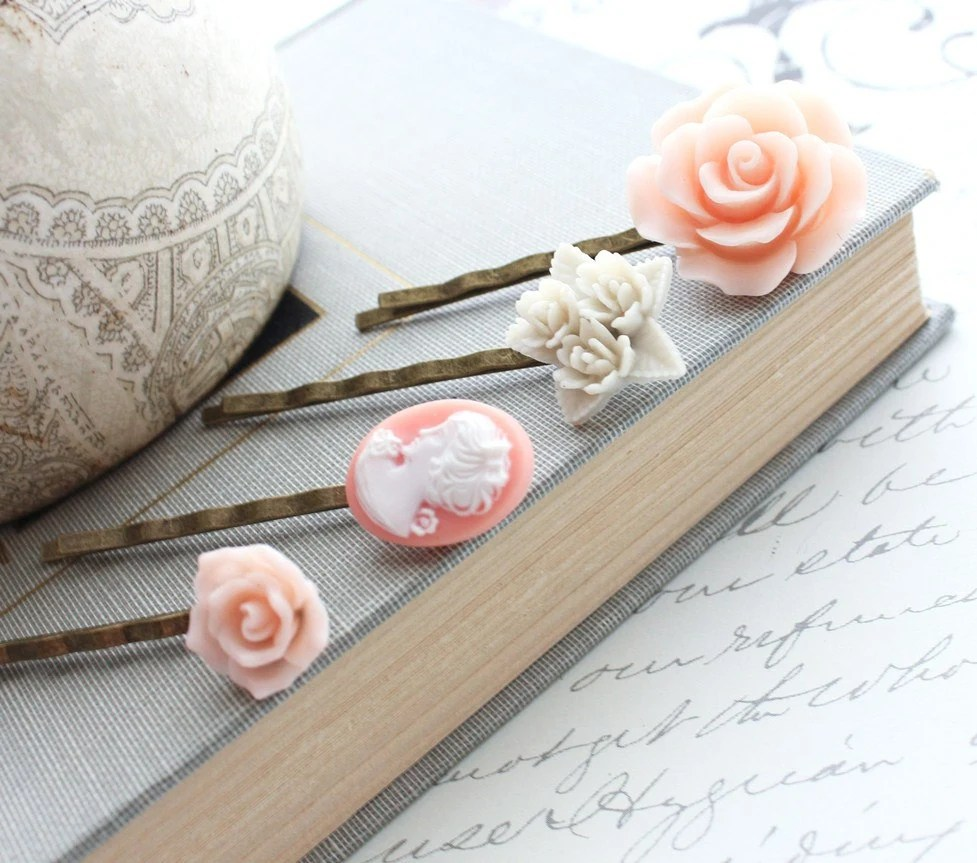 Pink Rose Bobby Pins, Hair Clips, Lady profile cameo, Cream, White, Shabby Chic, Peach Rose, Vintage Style Cabochon, set of four (4) - apocketofposies