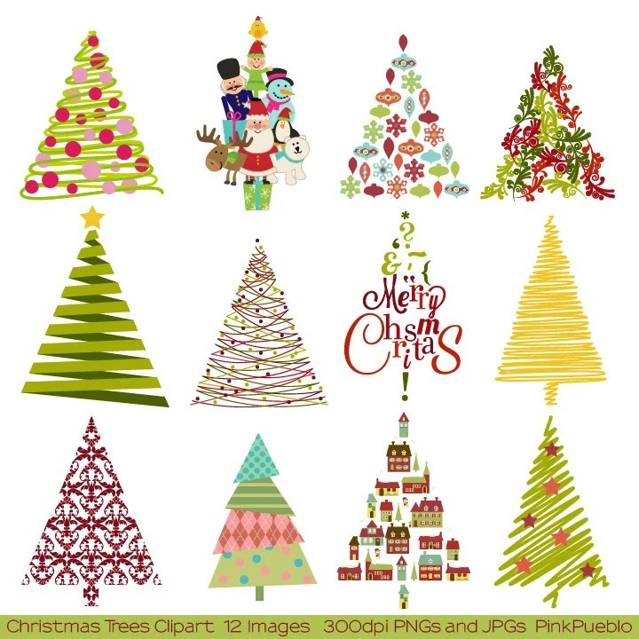modern christmas tree clipart