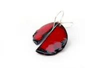 Enamel earrings red black geometry halloween by Alery - alery