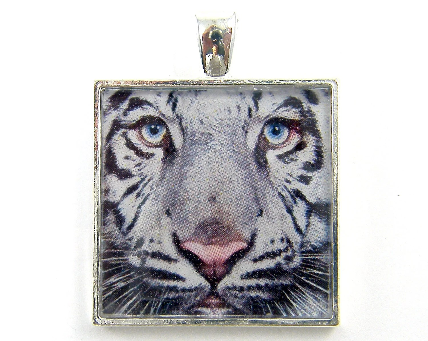 Tiger Pendant - Black White Striped Big Cat Blue Eyes Jungle Wild Animal Nature Jewelry - CharleneSevier