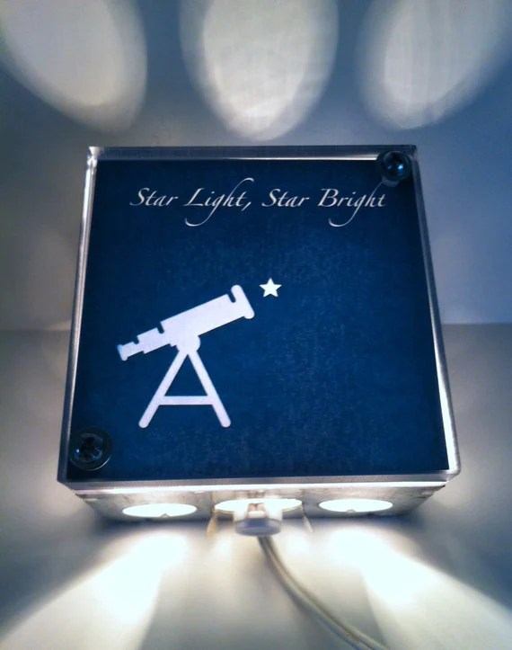 Star Light Star Bright - Repurposed Vintage Dictionary Print Design Night Light Box Upcycled Lamp - TheRekindledPage