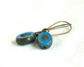 Chunky Blue Earrings, oval, dangle, simple, by nancelpancel on etsy - nancelpancel